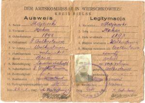 Удостоверение личности (Ausweis) № 3172, выданное Маевскому Макару Яновичу оккупационными властями